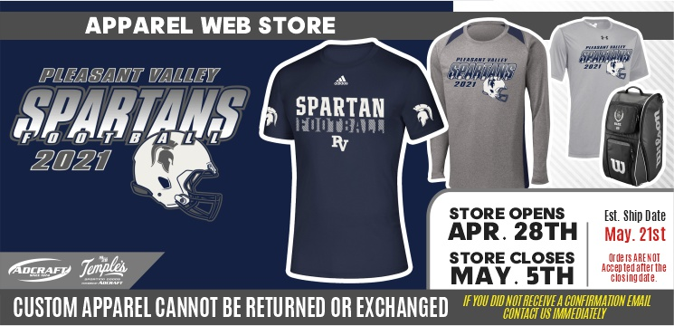 Pleasant Valley Football Spring 2021 Player Gear
