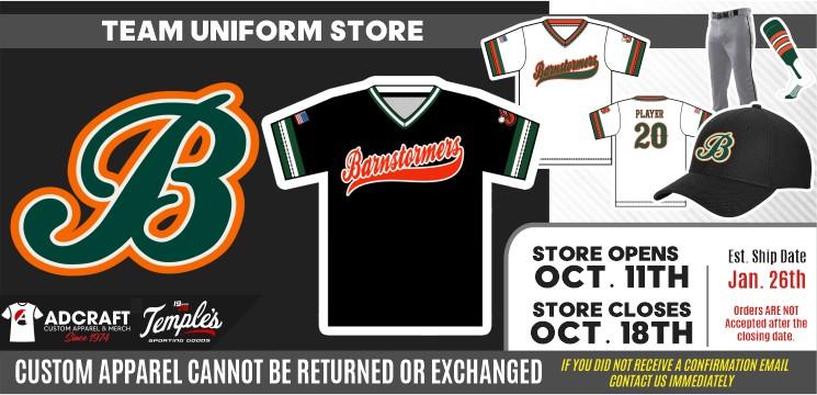 Barnstormer Baseball 2022 Team Uniforms
